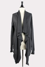 --- Hailey Draped Front Cardigan in Gray