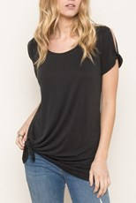 Mystree Madison Slit Sleeve Tee