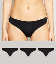 New Look 3 Pack Black Seamless Thongs