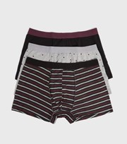 New Look 3 Pack Burgundy and Grey Stripe Spot Boxers
