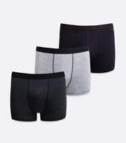 New Look 3 Pack Grey and Black Boxers