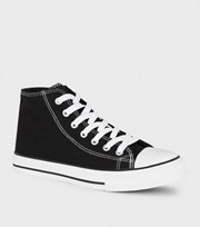 New Look Black Canvas High Top Trainers
