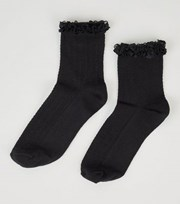 New Look Black Frill Trim Cable Ankle Socks