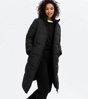 New Look Black Hooded Long Puffer Jacket