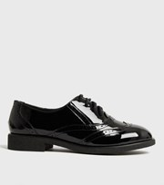 New Look Black Patent Lace Up Brogues
