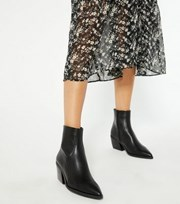 New Look Black Pointed Block Heel Western Boots