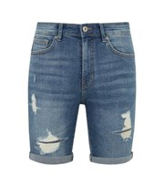 New Look Blue Mid Wash Ripped Denim Shorts