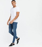 New Look Blue Mid Wash Spray On Skinny Jeans