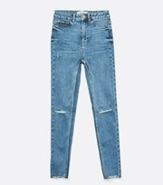 New Look Blue Ripped High Waist Hallie Super Skinny Jeans