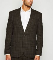 New Look Dark Brown Check Suit Jacket