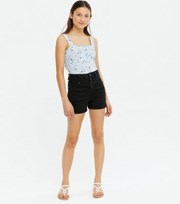 New Look Girls Black Denim High Waist Shorts
