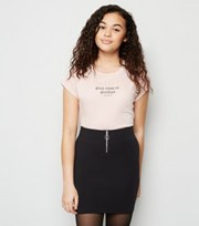 New Look Girls Black Ring Zip Tube Skirt