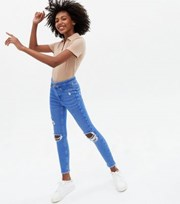 New Look Girls Bright Blue Ripped High Waist Hallie Super Skinny Jeans