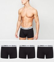 Jack & Jones 3 Pack Black Logo Boxers