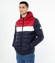 Jack & Jones Navy Hooded Puffer Jacket