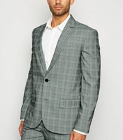 New Look Pale Grey Check Suit Jacket