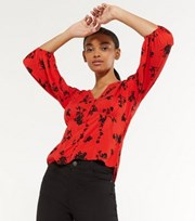 New Look Red Floral Button Front Tea Blouse