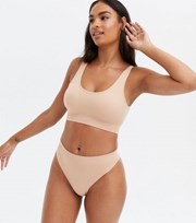 New Look Tan Ribbed Seamless Thong