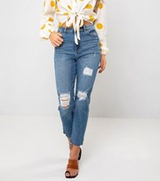 Urban Bliss Blue Ripped Straight Leg Jeans