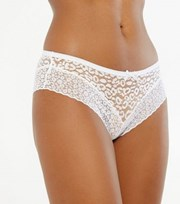 New Look White Leopard Lace Leg Brazilian Briefs