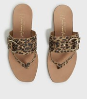 New Look Wide Fit Stone Suede Leopard Print Flip Flops