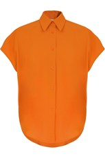 Maison Poi FLUID CIRCLE BLOUSE CAP/SL ORANGE