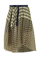 Sacai OMBRE CHECK PLEATED SKIRT YELLOW