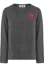 Comme Des Garcons PLAY MENS RED HEART KNIT L/S GREY