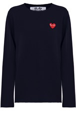 Comme Des Garcons PLAY MENS RED HEART KNIT L/S NAVY