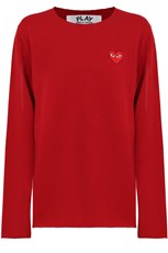 Comme Des Garcons PLAY MENS RED HEART KNIT L/S RED