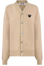 Comme Des Garcons PLAY MENS V-NECK CARDIGAN BLACK HEART BEIGE