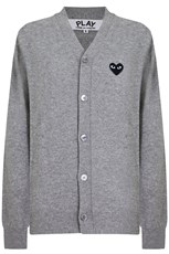 Comme Des Garcons PLAY MENS V-NECK CARDIGAN BLACK HEART LIGHT GREY