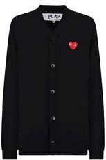 Comme Des Garcons PLAY MENS V-NECK CARDIGAN RED HEART BLACK