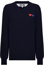 Comme Des Garcons PLAY MENS V-NECK PULLOVER DOUBLE HEART NAVY