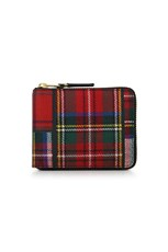 Comme Des Garcons TARTAN PATCHWORK ZIP WALLET RED